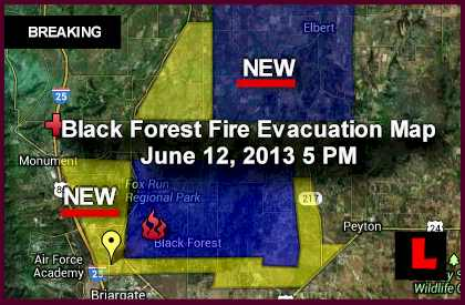 Black Forest Fire Evacuation Map Heads to Elbert, Northgate colorado springs fire
