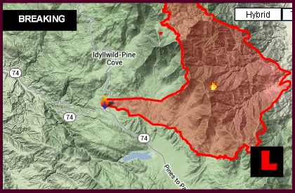 California Fires Map 2013: Idyllwild Fire Prompts New Evacuations
