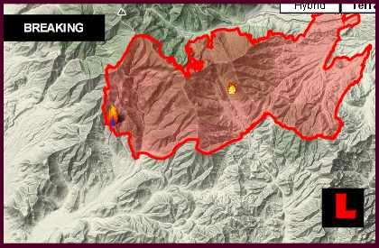 Carpenter 1 Fire Map: Kyle Canyon, Nevada Wildfire Spreads