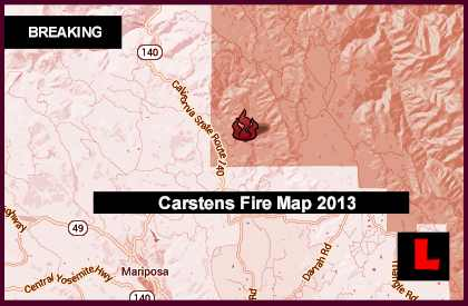 Carstens Fire Map 2013 Prompts Mariposa Evacuations Today