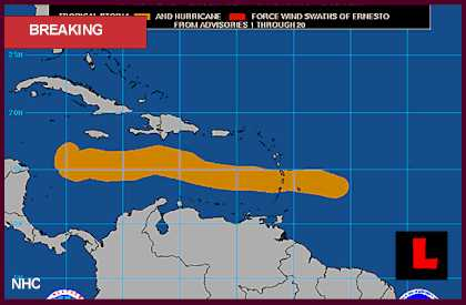 Hurricane Ernesto 2012 Projected Path Heads for Belize, Honduras