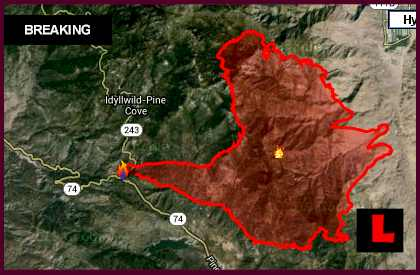 Idyllwild Fire Map 2013: Wildfire Prompts Trails End Evacuation