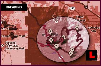 California Fire Map 2013: Palm Springs Neighboring Wildfire Spreads East