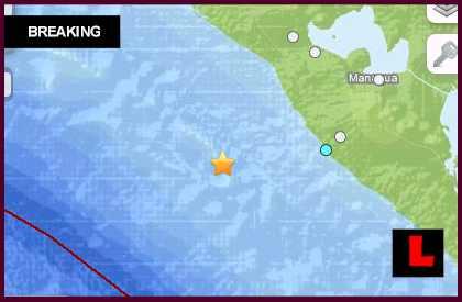 Nicaragua Earthquake Today 2013 - 6.6 Strikes Off Coast