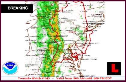 Tornado Watch Today 2013 Spans to New York, DC, New Jersey
