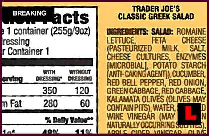 Trader Joes Southwest Salad Recall Notice Strikes So California 2013