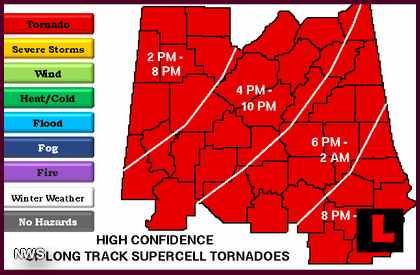 Tuscaloosa, Alabama Tornado Puts Birmingham on Alert