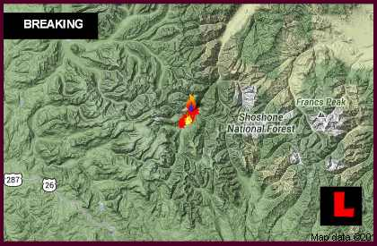 Wyoming Fire Map 2013: Hardluck Fire Burns West of Cody