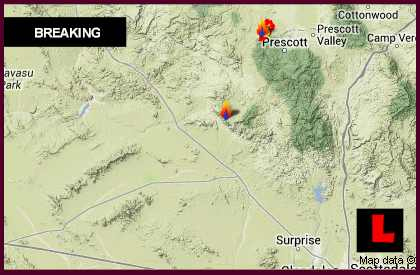 Yarnell Hill Fire Map 2013 Arizona Wildfire Spreads South Of Prescott