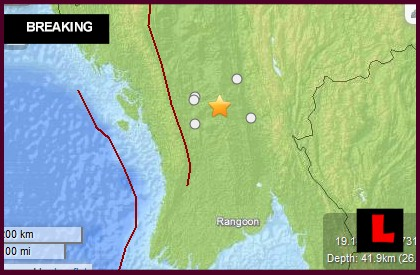 Burma Earthquake Today 2014: 5.1 Quake Strikes Myaydol