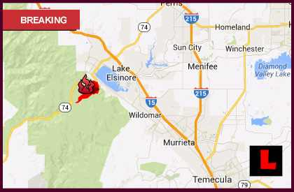 California Fire Map 2013: Lake Elsinore Fire in Riverside Reaches 20%