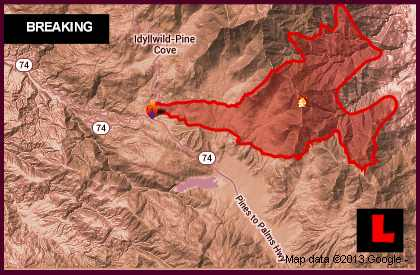 California Fires Map Today 2013: Wildfire Grows in Idyllwild, Palms Springs, Fern Valley