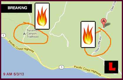 Camarillo Fire 2013 Today: Springs Fire Map Widens to Deer Creek 