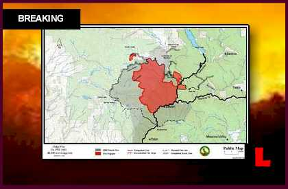 Chips Fire Map 2012 Grows, California Wildfire Jumps Lines