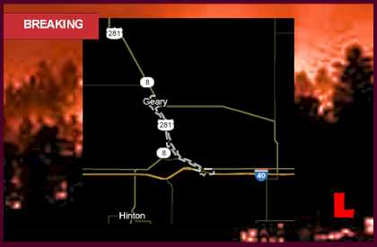 Geary, Oklahoma Fire Map Prompts Wildfire Rural Evacuations