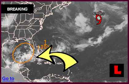 Tropical Storm Debby Projected Path Heads for Florida