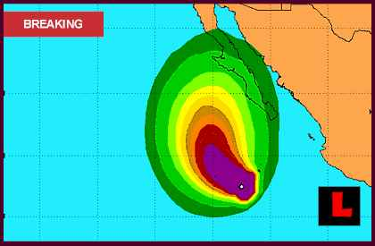 projected path tracking Hurricane Miriam 2012: Mexico and Baja California Remains in Path