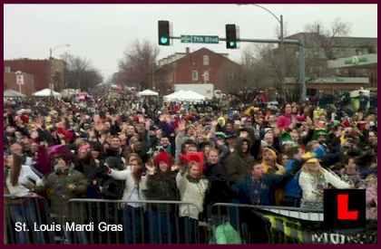 "Mardi Gras 2011 St Louis ""Rains Beads"" on Soulard"
