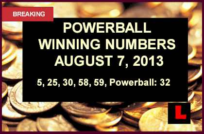 Powerball Winning Numbers Tonight August 7 2013 Prompt Big Draw Results 8/7/13