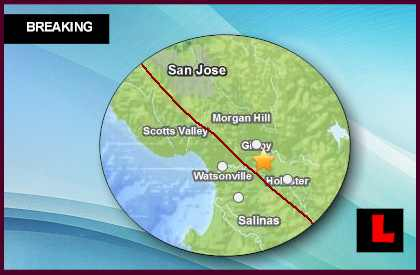 California Earthquake Today 2013 Strikes South of San Jose