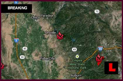 Los Angeles Fires Update >> Swedes Flat Fire Map 2013: Oroville Fire in Butte County Grows