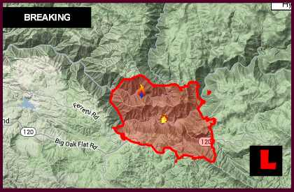 Yosemite Fire Map 2013: Rim Fire in Groveland Impacts Pine Mountain