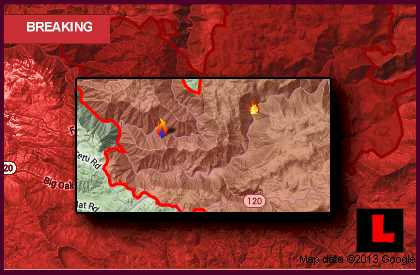 Yosemite Rim Fire Map 2013: Groveland, California Wildfire Spreads